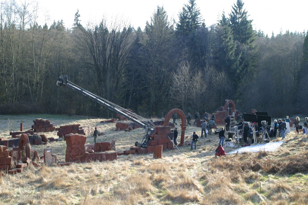 The crew on location for 'Fallen'
