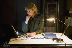 Samantha Carter studies alone in 'The Fourth Horseman'