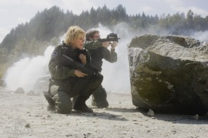 Samantha Carter and Daniel Jackson in battle in 'Stronghold'