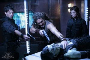 John Sheppard, Ronon Dex, Elizabeth Weir with Wraith Queen in 'Submersion'