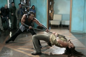 Tea'c and Ronon Dex fight in MIDWAY