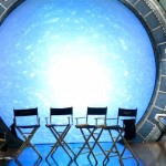 Empty Actor Chairs in front of an active Stargate